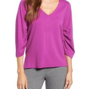 Halogen- Ruched Sleeve V-Neck Blouse